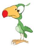 Illustration de perroquet vert mignon le chef heureux de crabots mignons effrontés de personnage de dessin animé de fond a isolé  Image libre de droits