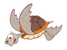 Illustration de personnage de dessin animé mignon de tortue de mer Photographie stock libre de droits