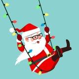 Illustration de personnage de dessin animé de vecteur de Santa Claus balançant dessus Photo stock