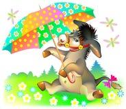 Illustration de petit âne tenant le parapluie Photos stock