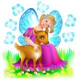 Illustration de petite fée étreignant un faon mignon Photographie stock
