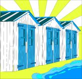 Illustration de petites maisons néerlandaises sur la plage Photos stock