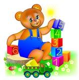 Illustration de peu d'ours de nounours jouant avec des cubes Photographie stock