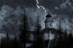 Illustration de phare et d'arbres Images libres de droits