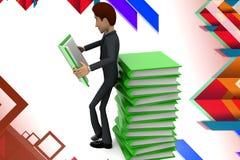 illustration de pile de livre d'homme des affaires 3d Images stock