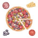 Illustration de pizza et d'ingrédients Photo libre de droits