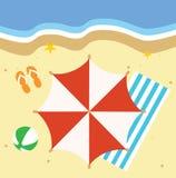 Illustration de plage avec beaucoup de différents éléments Photo stock