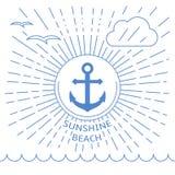 Illustration de plage d'été faite avec des lignes d'ensemble Photo libre de droits