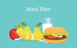 Illustration de plan de repas avec du lait, les fruits et l'hamburger sur une table Images stock