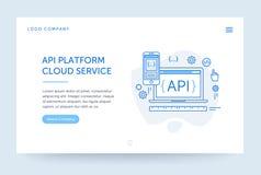 Illustration de plate-forme d'api Drapeau de Web Ligne style plate bleue Concept de page d'accueil Maquette de conception d'UI illustration libre de droits