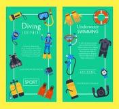 Illustration de plongée sous-marine de vecteur de calibres d'affiche de bannière de magasin de sport Équipement de plongée de piq illustration de vecteur