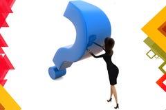 illustration de point d'interrogation de poussée de la femme 3d Images stock