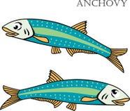 Illustration de poissons d'anchois Image stock