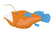 illustration de poissons de pêcheur à la ligne d'isolement sur un fond blanc Photographie stock libre de droits