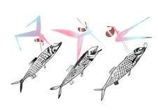 Illustration de poissons et de femmes sur le fond blanc illustration de vecteur