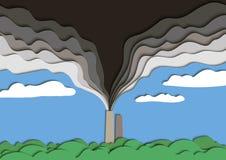 Illustration de pollution environnementale La fumée empoisonnée d'un tuyau d'usine pollue l'air Vecteur illustration de vecteur