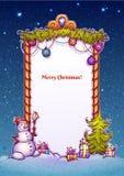 Illustration de porte de Noël avec la fourmi de bonhomme de neige illustration de vecteur