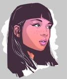 Illustration de portrait de maquillage de port de belle fille illustration de vecteur