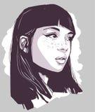 Illustration de portrait de maquillage de port de belle fille illustration stock
