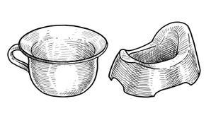 Illustration de pot, dessin, gravure, encre, schéma, vecteur illustration libre de droits