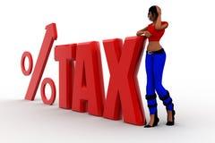 illustration de pourcentage d'impôts des femmes 3d Images stock