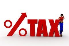 illustration de pourcentage d'impôts des femmes 3d Photo stock
