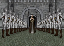 Illustration de princesse Castle Entrance Knight Photos stock