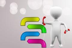 illustration de récepteurs de téléphone de l'homme 3d Photos libres de droits