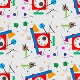Illustration de rétro téléphone avec l'appel téléphonique Configuration sans joint Illustration géométrique de rétro supermatism  illustration de vecteur