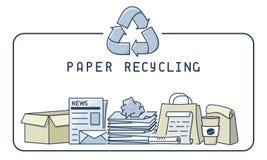 Illustration de réutilisation de papier avec des déchets et l'inscription Images stock