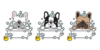 Illustration de race de logo de personnage de dessin animé d'icône de douche de bain de bouledogue français de vecteur de chien illustration libre de droits