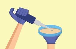 Illustration de recherches médicales Le scientifique réalisent l'essai antibiotique de susceptibilité illustration libre de droits