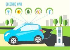 Illustration de remplissage bleue électrique de voiture hybride sur la route et le paysage de ville Icônes avec la prise, l'argen Photographie stock