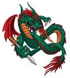 Illustration de respiration de vecteur de dragon du feu de vol photos stock