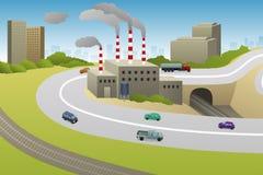 Illustration de route de voitures d'usines d'usines illustration de vecteur