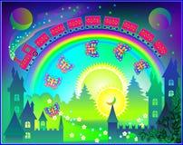 Illustration de royaume d'imagination de royaume des fées avec l'arc-en-ciel dans le ciel Images stock
