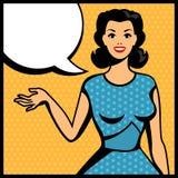 Illustration de rétro fille dans le style d'art de bruit Photos libres de droits