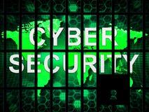 Illustration de sécurité de menace de Digital de serrure de Cybersecurity 2d Illustration de Vecteur