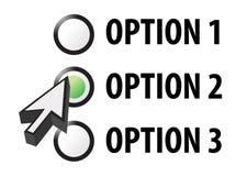 Illustration de sélection de l'option 1 2 ou 3 Image libre de droits
