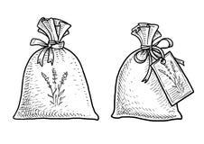 Illustration de sac de potpurri de lavande, dessin, gravure, encre, schéma, vecteur illustration stock