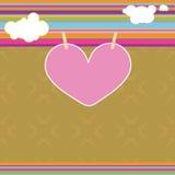 Illustration de Saint-Valentin avec le coeur et les nuages Image stock