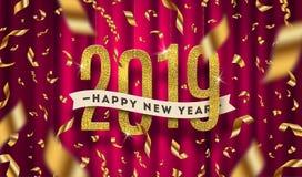 Illustration de salutation de la bonne année 2019 Nombres d'or de scintillement et confettis d'or d'aluminium sur un fond rouge d illustration de vecteur
