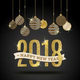 Illustration de salutation de la nouvelle année 2018 noir de couleur d'or de ` du ` n illustration de vecteur