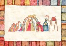 Illustration de scène de Christian Christmas Nativity avec les trois sages Image libre de droits