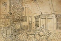 Illustration de sch?ma d'un coin confortable de salon ou de caf? image libre de droits