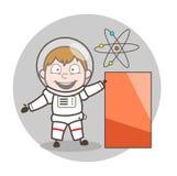 Illustration de Showing Banner Vector d'astronaute de bande dessinée Images libres de droits