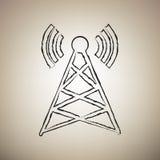 Illustration de signe d'antenne Vecteur Icône noire drawed par brosse au Li illustration de vecteur