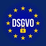 Illustration de signe de DSGVO Règlement général de protection des données - GDPR illustration stock