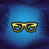 Illustration de signe de lunettes de soleil Vecteur Icône d'or avec l'escroquerie noire illustration stock