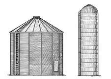 Illustration de silo, dessin, gravure, encre, schéma, vecteur illustration stock